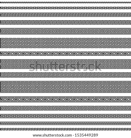 meander seamless pattern. greek fret repeated motif. simple black white repetitive background. vector geometric shapes. textile paint fabric swatch. wrapping paper. classic ornament repeatable element