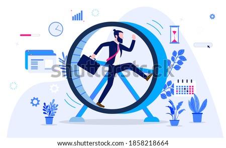 Meaningless work - Businessman running in hamster wheel, feeling useless, getting nowhere in boring job. Stuck in rut concept. Vector illustration. Foto stock ©