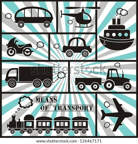 means of transport icons with stripes