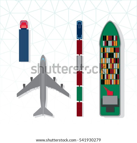 Means of Transportation Vehicle Ship Plane Train with Freight Top View Logistics Icons Set - Colored in Details Black Blue Brown Green Grey Orange and Red Elements on White Background - Flat Design
