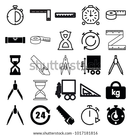 Measure icons. set of 25 editable filled and outline measure icons such as level ruler, compass, cargo height, 24 hours, hourglass, stopwatch, measuring tape, saw, ruler