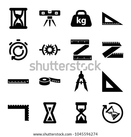 Measure icons. set of 16 editable filled measure icons such as ruler, level ruler, compass, measure ruler, pressure, weight, hourglass, stopwatch