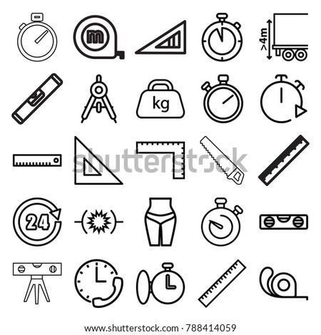 Measure icons. set of 25 editable outline measure icons such as compass, ruler, level ruler, tape, stopwatch, waist fitness, pressure, cargo height, weight, 24 hours