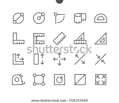 Measure Pixel Perfect Well-crafted Vector Thin Line Icons 48x48 Ready for 24x24 Grid for Web Graphics and Apps with Editable Stroke. Simple Minimal Pictogram Part 1-1