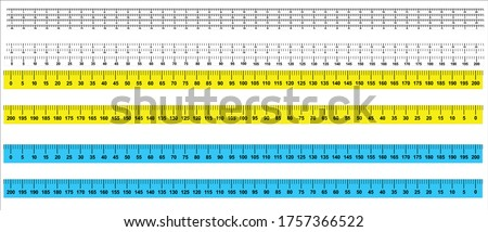 Measure Tape ruler metric measurement. Metric ruler. 200 centimeters metric vector ruler with yellow and black color. Two version, from left to right and opposite. 2, 4, and 8 centimetre wide.  Foto stock ©