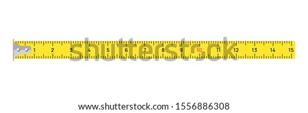 Measure tape vector meter isolated scale. Yellow ruler measure tape centimeter inch. Foto stock ©