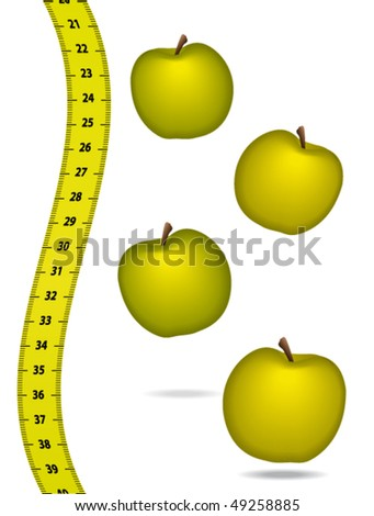 Measure tape with appels. Healthcare concept. Vector illustration.