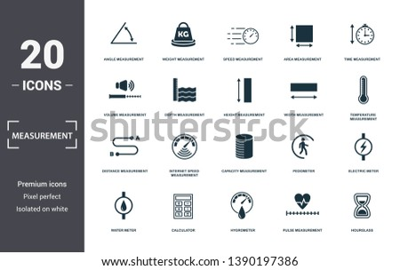 Measurement icons set collection. Includes simple elements such as Angle Measurement, Weight, Speed Measurement, Area Measurement, Time, Internet Speed
