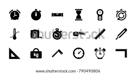Measurement icons. set of 18 editable filled measurement icons: measure tape, level ruler, ruler, hourglass, themometer, thermometer, stopwatch, clock, pendulum, alarm