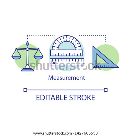 Measurement possibilities concept icon. Classic scales, triangle ruler, angle measures idea thin line illustration.Measuring equipment, tools. Vector isolated outline drawing. Editable stroke