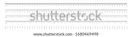 Measurement scale, markup for a ruler. Measuring tool. The release of the ruler. Size indicator units. Metric inch size indicators. Vector illustration. Foto d'archivio ©