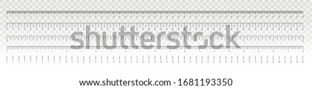 Measurement scale, markup for a ruler. Measuring tool. The release of the ruler. Size indicator units. Metric inch size indicators. Vector illustration. Foto stock ©