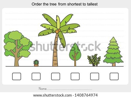 Measurement worksheet - Order the trees from shortest to tallest. - Worksheet for education.