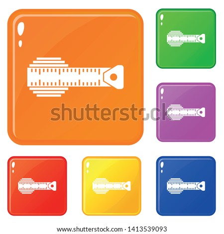 Measuring centimeter icons set collection vector 6 color isolated on white background