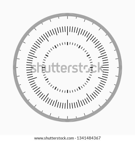 Measuring circle scale. Circular meter, round meter for household. Graduation 360 degrees. Small circles with 100 and 60 lines. Vector illustration, EPS10.