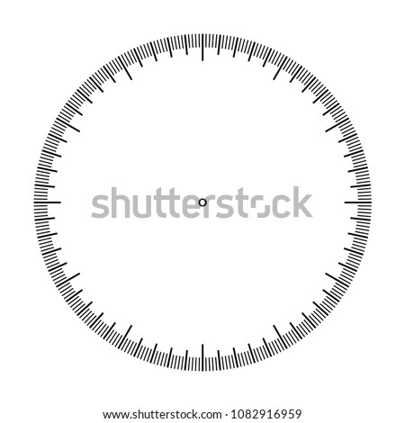 Measuring circle scale. Stopwatch dial. Measuring round scale, Level indicator, measurement acceleration, circular meter, round meter. 12 large divisions, 60 medium, 300 small. Vector EPS10