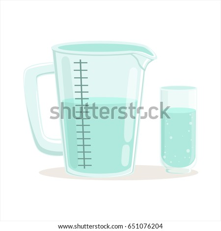 Measuring cup and glass kitchenware vector Illustration