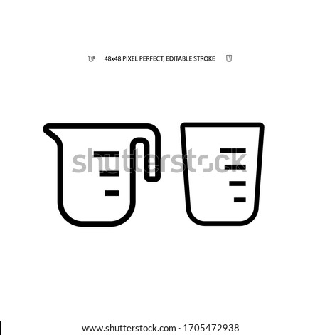 Measuring cup for cooking, beaker simple black line web icon vector illustration. Editable stroke. 48x48 Pixel Perfect.