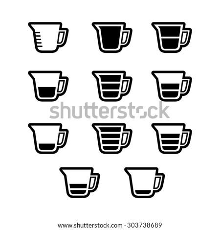 Measuring cup icon set