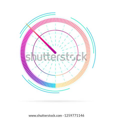 Measuring device icon, tachometer sign, speedometer, fuel indicator. Credit score or key performance. Speedometer for dashboard. Web download speed or internet connection meter stages. Vector