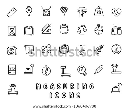 measuring hand drawn icon design illustration, line style icon, designed for app and web