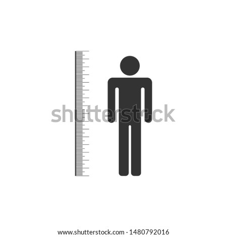 Measuring height body icon isolated. Flat design. Vector Illustration