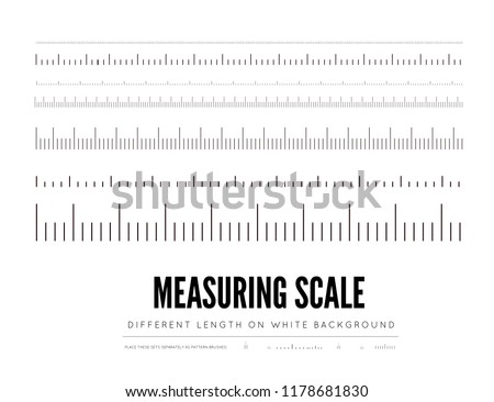 Measuring rulers of different scale, length and shape. Vector elements