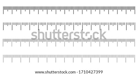 Measuring scale, marking for ruler, marks for tape measure,  thermometer scale. Vector illustration ストックフォト ©