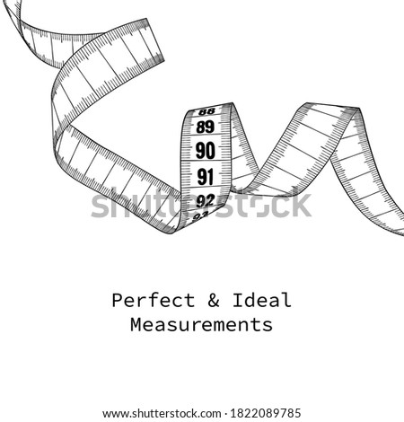 Measuring tape - concept illustration for body ideals. Easy to replace numbers with your own. B&W decorative design element. Foto d'archivio ©