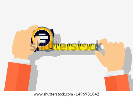 Measuring tape in the hands of a man. Template for a poster of a construction and repair company. Flat vector illustration. ストックフォト ©