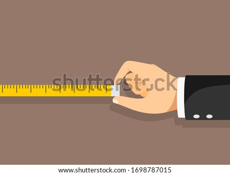 Measuring tape in the hands of the person making the measurements. Vector illustration Stockfoto ©
