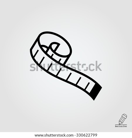 Measuring tape.  Vector icon for presentation, training, marketing, design, web. Can be used for creative template, logo, sign, craft. Isolated on white background. Vector black silhouette.
