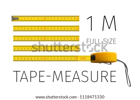 Measuring tool. Tape measure. Roulette. Yellow yardstick 1 meter in full size isolated on white. 3D realistic vector illustration