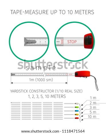 Measuring tool. Tape measure. Yardstick constructor up to 10 meters of different colors, isolated on white. 3D realistic vector illustration