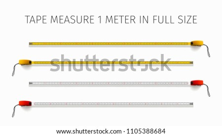 Measuring tool. Tape measure. Yellow and red roulette 1 meter in real size. 3D realistic vector illustration