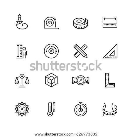 Measuring tools and measures vector icon set in thin line style