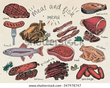 meat and fish menu  steak
