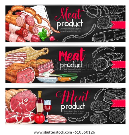 Shutterstock Meat and sausage barbecue menu banner set. Beef and pork sausages, ham, salami, bacon, frankfurter and gammon chalk sketches with wine and fresh vegetables for butcher shop and restaurant design.