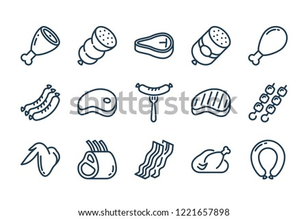 Meat and sausage related line icon set.