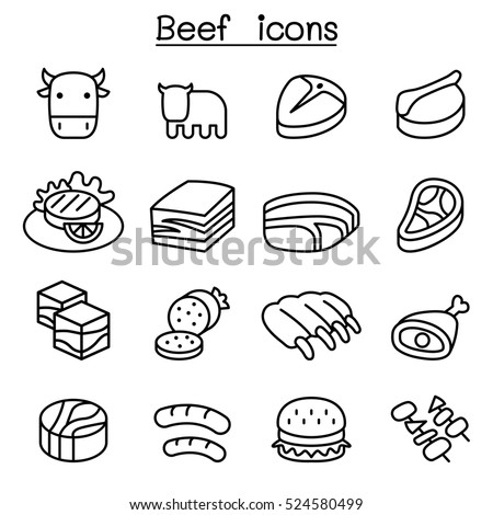 meat   beef icon set