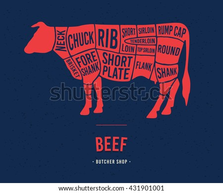 Meat cuts. Diagrams for butcher shop. Scheme of beef. Animal silhouette beef. Vector illustration.