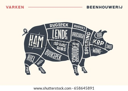 stock vector meat cuts poster butcher diagram and scheme pork vintage hand drawn black and white typographic 658645891 hog meat cuts download free vector art, stock graphics & images