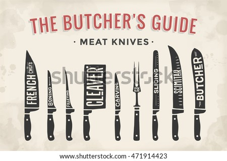 meat cutting knives set poster