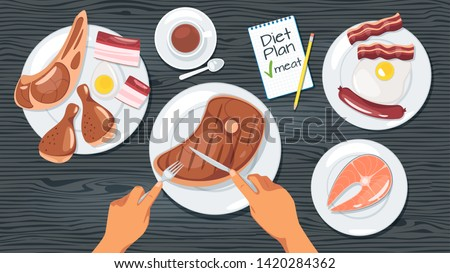 Meat diet plan web banner template. Weight loss meal, healthy eating. Animal products dishes on plates. Carnivore restaurant menu. Human hands cutting roasted beef steak. Fried fish and chicken Stock fotó ©