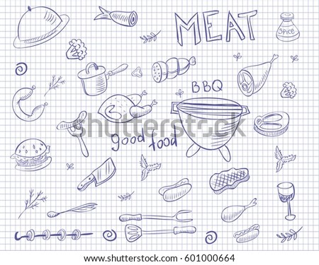 meat doodle vector set on squared paper