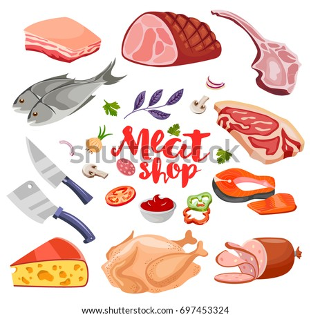 Meat flavoring, vegetables and cheese flat food icons set vector. Fresh meat icon.