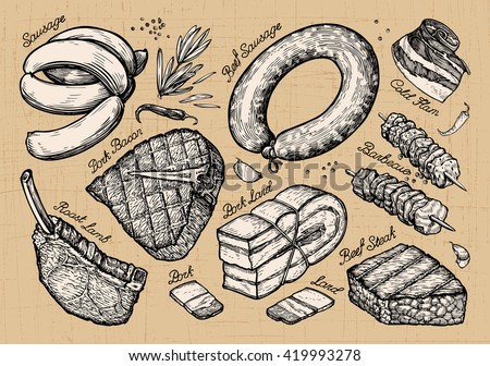 meat, food. set sketch elements hand drawn. vector illustration