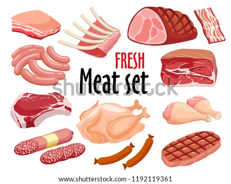 Meat icon set vector Fresh meat icons set