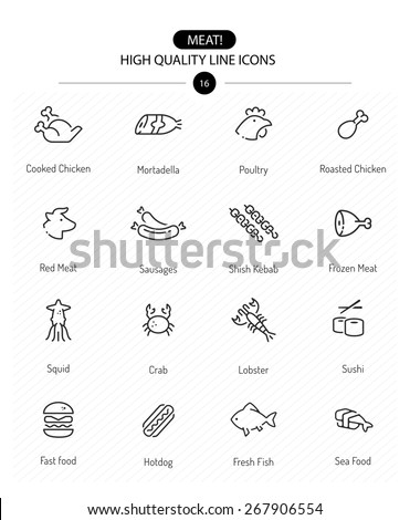 meat icons  line series  line