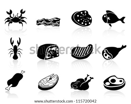 meat icons set